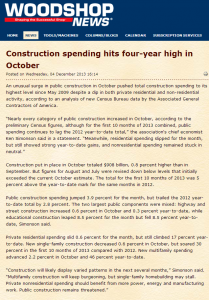 Construction spending hits four year high in October